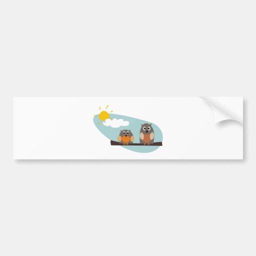 Funny owls on branch on sunny day illustration car bumper sticker