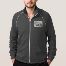 Funny owls on branch on sunny day Jacket