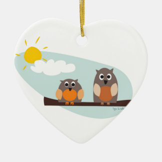 Funny owls on branch on sunny day christmas tree ornament