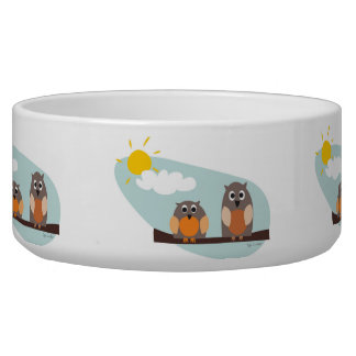 Funny owls on branch on sunny day pet bowl