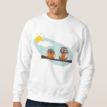 Funny owls on branch on sunny day Sweatshirt
