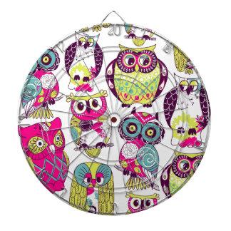 Funny owls pattern dartboards