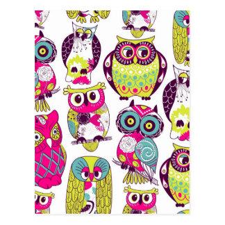 Funny owls pattern postcard