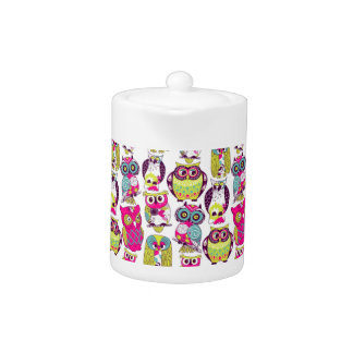 Funny owls pattern teapot