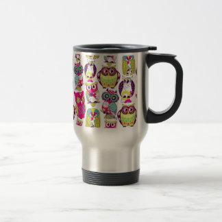 Funny owls pattern travel mug