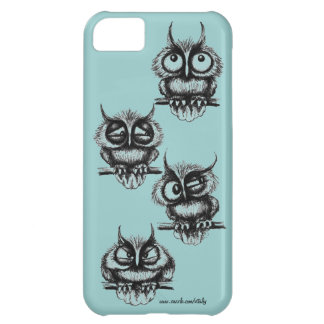 Funny owls pen ink drawing art iPhone case