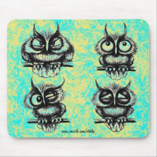 Funny owls pen ink drawing art mousepad design