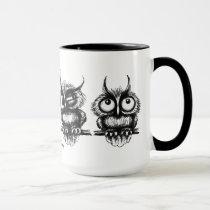 Funny owls pen ink drawing art mug design