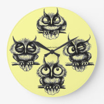 Funny owls pen, ink drawing clock design
