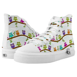 funny owls printed shoes