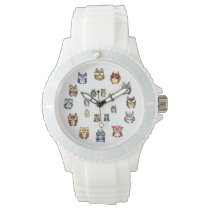 Funny owls rainbow watercolor wristwatch