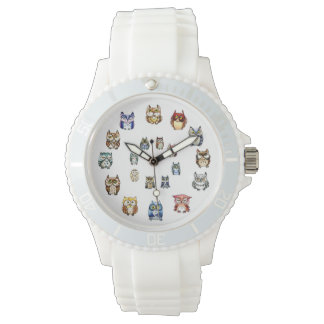 Funny owls rainbow watercolor wristwatch