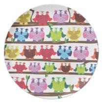 Funny Owls sitting on a brach pattern Melamine Plate