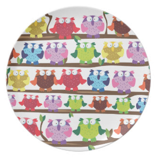 Funny Owls sitting on a brach pattern Party Plate