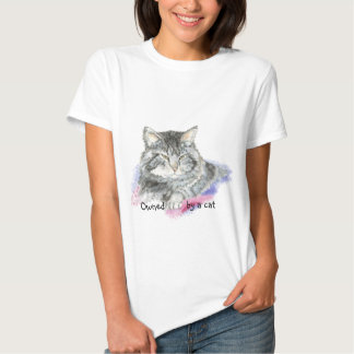 Funny Owned by a Cat with Watercolor Cat T Shirt