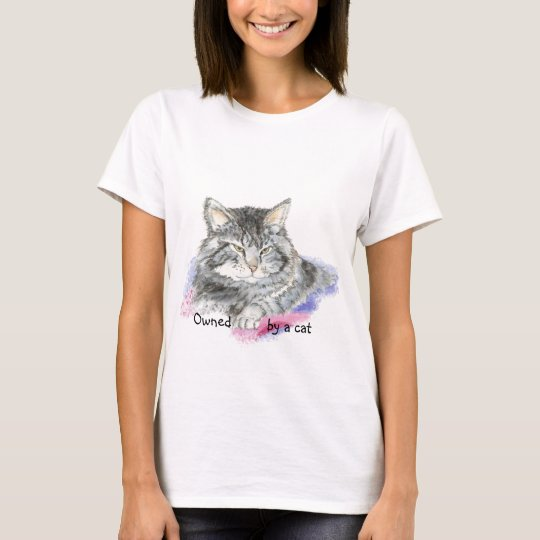 Funny Owned by a Cat with Watercolor Cat T-Shirt