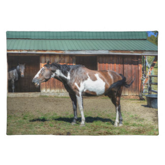 Funny Paint Pinto Grinning Horse Photo Bomb Cloth Placemat