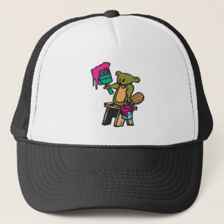 funny painting beaver trucker hat