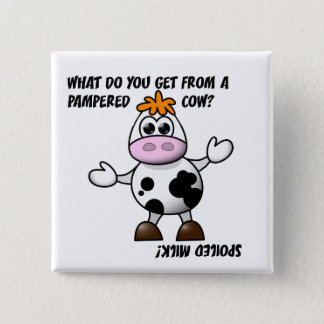 Funny Pampered Cow Joke Button