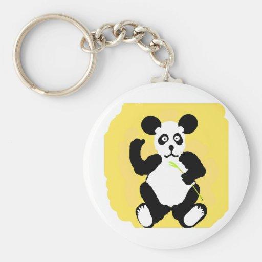 Funny Panda Basic Round Button Keychain