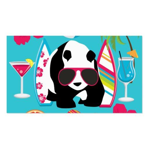 Funny Panda Bear Beach Bum Cool Sunglasses Surfing Business Card
