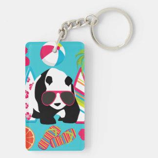 Funny Panda Bear Beach Bum Cool Sunglasses Surfing Keychain