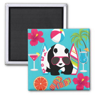 Funny Panda Bear Beach Bum Cool Sunglasses Surfing Magnet