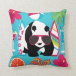 Funny Panda Bear Beach Bum Cool Sunglasses Surfing Throw Pillows