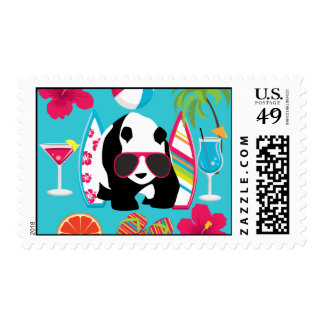Funny Panda Bear Beach Bum Cool Sunglasses Surfing Postage Stamps