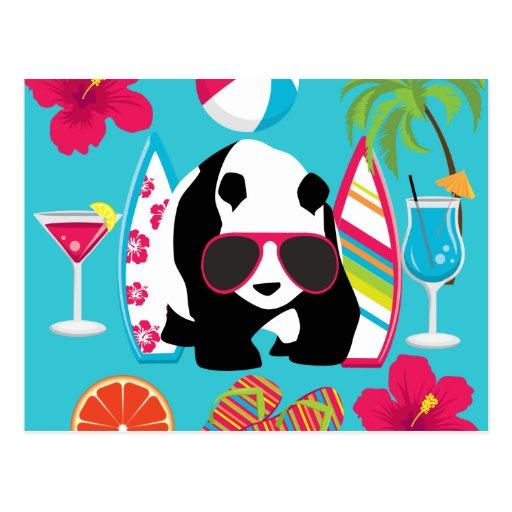 Funny Panda Bear Beach Bum Cool Sunglasses Surfing Postcard