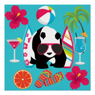 Funny Panda Bear Beach Bum Cool Sunglasses Surfing Poster
