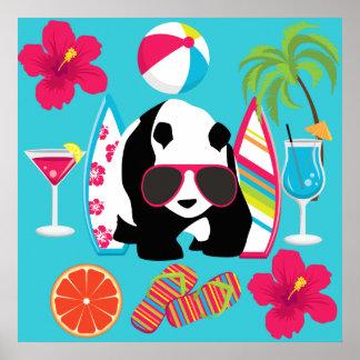 Funny Panda Bear Beach Bum Cool Sunglasses Surfing Poster