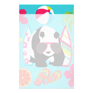 Funny Panda Bear Beach Bum Cool Sunglasses Surfing Stationery Paper