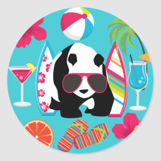 Funny Panda Bear Beach Bum Cool Sunglasses Surfing Classic Round Sticker