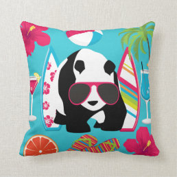 Funny Panda Bear Beach Bum Cool Sunglasses Surfing Throw Pillow