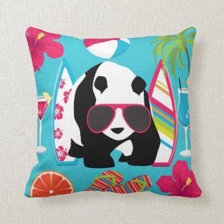Funny Panda Bear Beach Bum Cool Sunglasses Surfing Throw Pillow