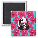 Funny Panda Bear Beach Bum Cool Sunglasses Tropics 2 Inch Square Magnet