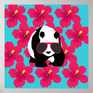 Funny Panda Bear Beach Bum Cool Sunglasses Tropics Poster