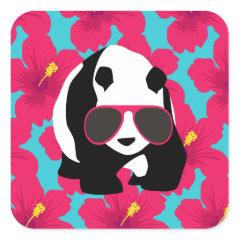 Funny Panda Bear Beach Bum Cool Sunglasses Tropics Sticker