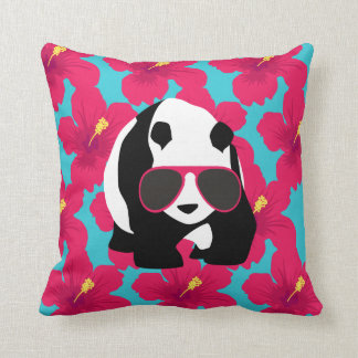 Funny Panda Bear Beach Bum Cool Sunglasses Tropics Throw Pillow