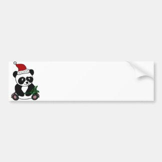 Funny Panda Bear Christmas Art Car Bumper Sticker