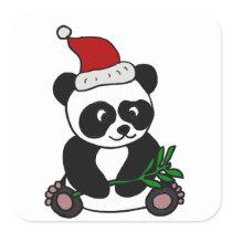 Funny Panda Bear Christmas Art Square Sticker
