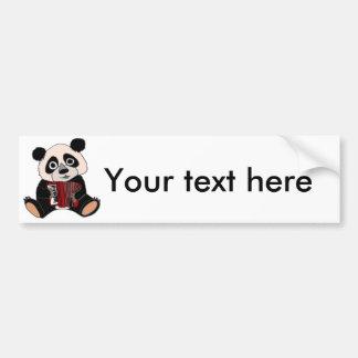Funny Panda Bear Playing Accordion Bumper Sticker