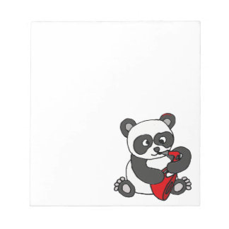 Funny Panda Bear Playing Red Saxophone Art Notepad