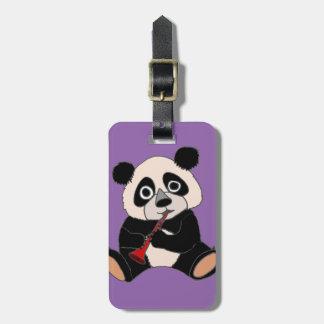 Funny Panda Bear Plying Red Clarinet Bag Tag