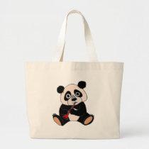 Funny Panda Bear Plying Red Clarinet Large Tote Bag