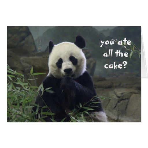 Funny Panda Birthday, no cake? BAMBOOzled! Greeting Card