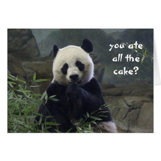 Funny Panda Birthday, no cake? BAMBOOzled! Card