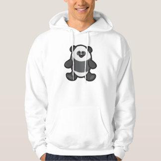 Funny Panda on White Hoodie