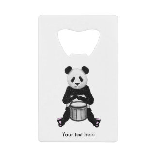 Funny Panda Playing Drums Credit Card Bottle Opener